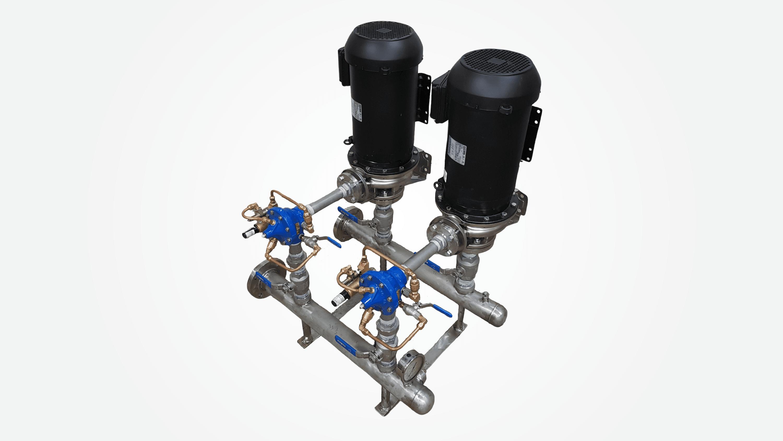 AQUASYS – Système de surpression d'eau domestique conçu et fabriqué par Pompes & Moteurs MLV (équipement de pompage à Montréal) – crédit: Pompes & Moteurs MLV